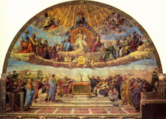 17-raffaello-disputa-del-sacramento, nella stanza della Segnatura, Vaticano